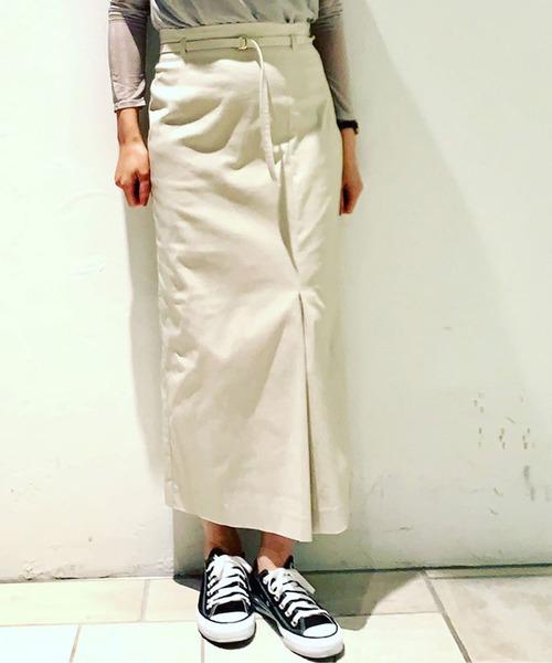 TONAL(トーナル)の「【セットアップ着用可能】ハイストレッチアシメタックタイトスカート(スカート)」|ベージュ