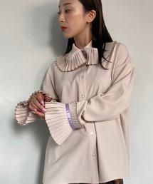 【SANSeLF】frill big collar blouse sanwg1ベージュ