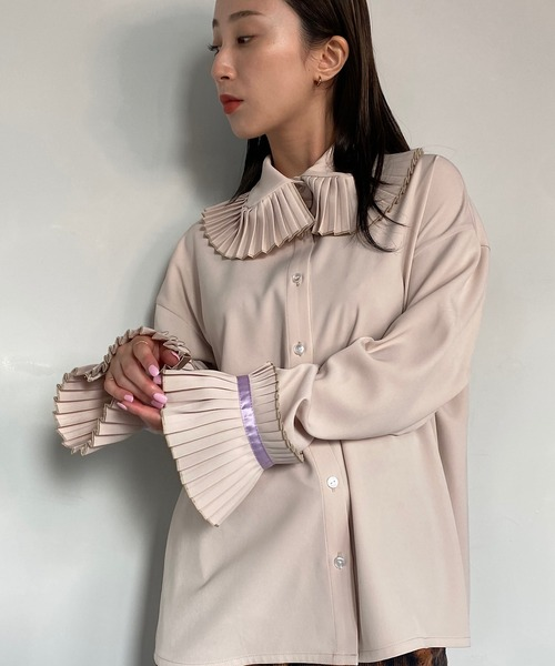 【SANSeLF】frill big collar blouse sanwg1
