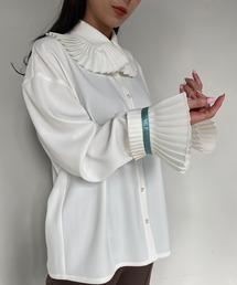【SANSeLF】frill big collar blouse sanwg1ホワイト