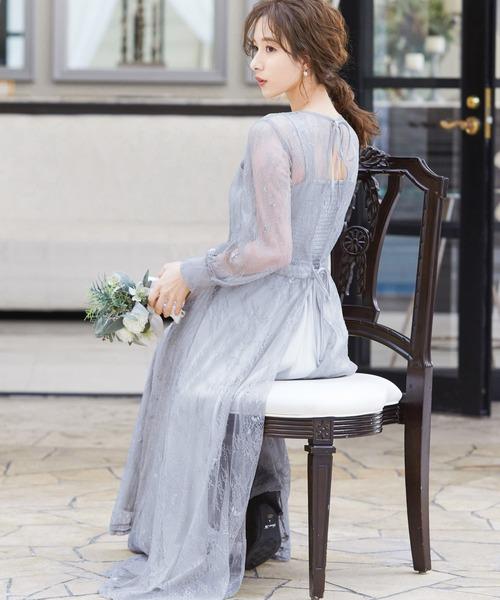 2wayバックリボン総レースドレス 結婚式ワンピース