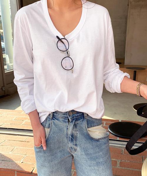 NANING9(ナンニング)ラウンドネック長袖Tシャツ
