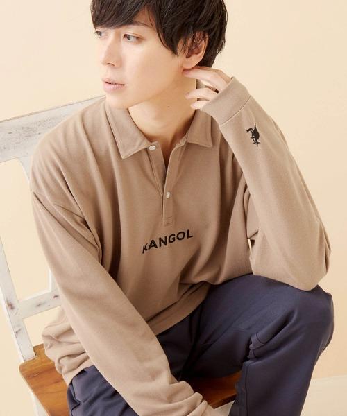 KANGOL/カンゴール 別注ロゴ刺繍 ビッグシルエットL/Sポロシャツ