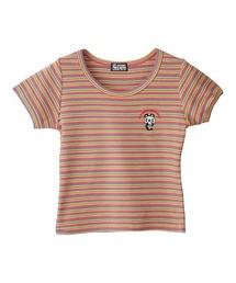 SKULL PANDA刺繍 Tシャツピンク