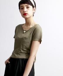 WEGO(ウィゴー)のWEGO/リネンモダールUネックショートTシャツ(Tシャツ/カットソー)
