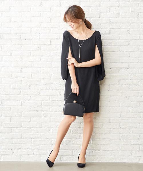 セール 東原亜希さん着用 ケープスリーブシンプルワンピースドレス