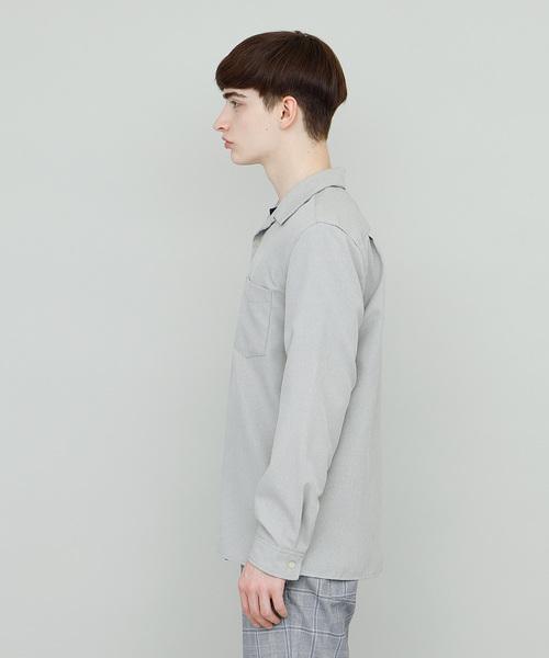 ワイドシルエット長袖オープンカラーシャツ