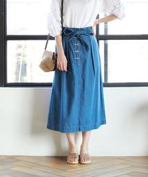 【先行販売】USAコットンウエストリボンライトデニムスカート
