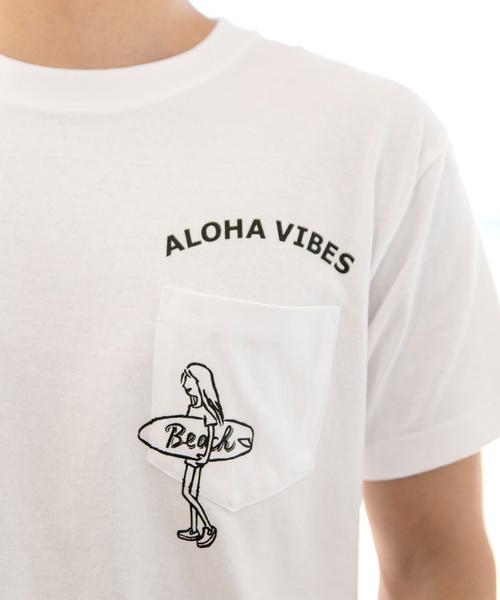 【Kahiko】ALOHA VIBES メンズポケットTシャツ L