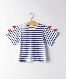 ボーダーリボンスリーブTシャツ