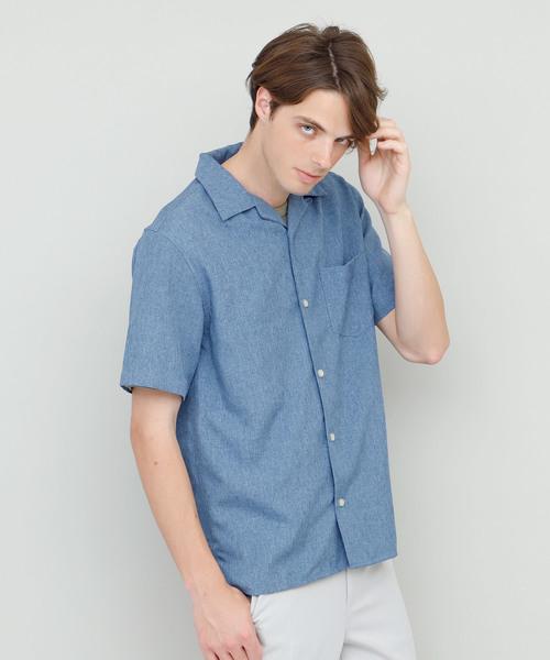 ワイドシルエット半袖オープンカラーシャツ