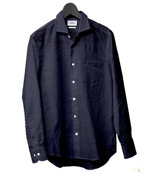 日本製太畝サッカー長袖シャツ