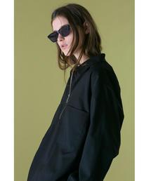 <monkey time> TR GEORGETTE HALF ZIP SHIRT/ハーフジップシャツ ◆