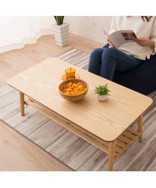 棚付き折りたたみテーブル 省スペース 長方形