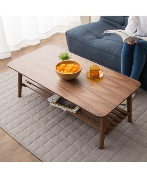 東京家具(トウキョウカグ)の「棚付き折りたたみテーブル 省スペース 長方形(家具)」|ダークウッド
