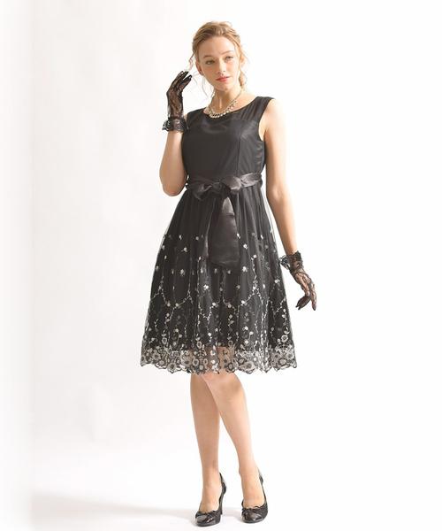 高い品質 裾スカラ刺繍ドレスワンピース, 笑顔美人 0681156c