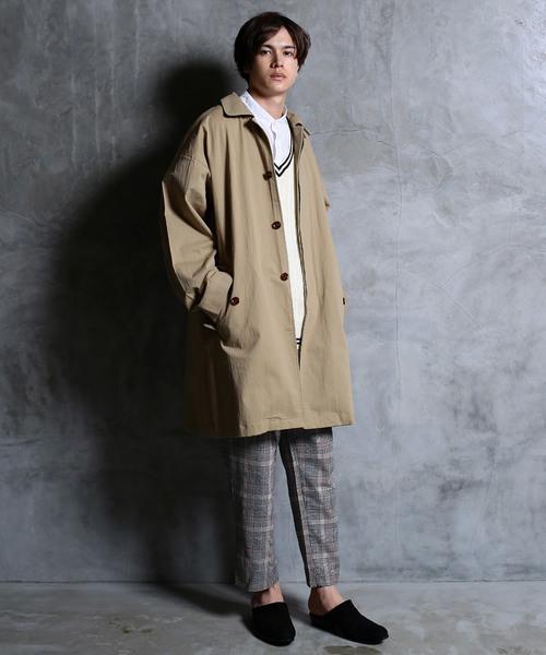 ツイル オーバーサイズ メンズ ステンカラー コート