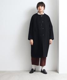 yuni(ユニ )のsuper100 ノーカラーコクーンコート(ノーカラージャケット)