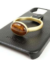 【 Hashibami / ハシバミ 】 iPhone 12/12pro スマホ・携帯カバー 天然石リング付きケース・・ブラック