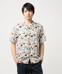ROCKERS総柄 半袖オープンカラーシャツ
