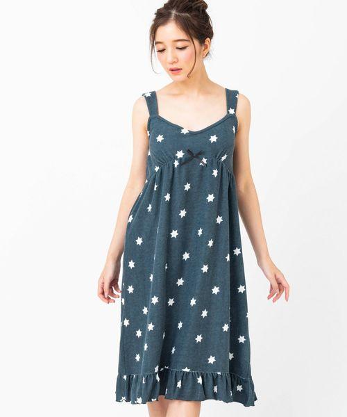 fran de lingerie(フランデランジェリー)の「mochi pile モチパイル キャミワンピースボーダー・星柄(ルームウェア/パジャマ)」 ダークグレー