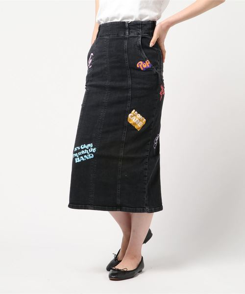 USED加工Sデニム LOGO SCRATCH pt マーメイドタイトスカート