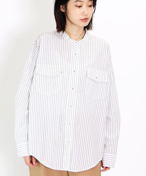 ∴【Allumer/アリュメール】ストライプバンドカラーシャツ Stripe Band Collar Shirt 8174303