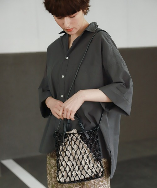 niko and...(ニコアンド)の「オリジナルメッシュ編み2WAYトートバッグS(トートバッグ)」|ブラック