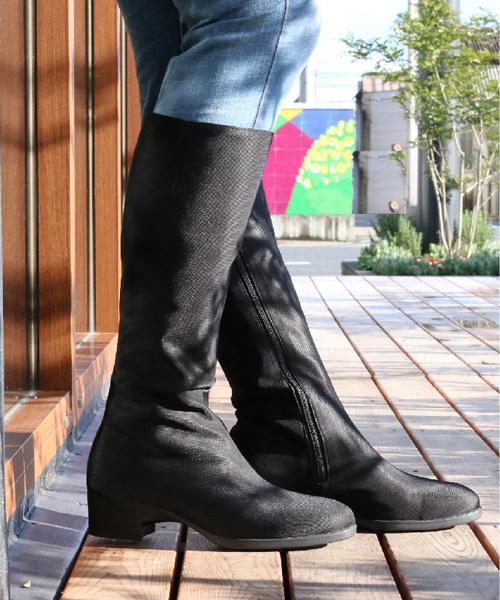 LIBERTY HOUSE(リバティハウス)の「GORE-TEX ロングブーツ (LH-150) 【雑誌クロワッサン 6/25号掲載】(ブーツ)」 ブラック×ブラック