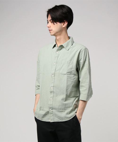 CERONIAS 綿100% 凹ブロード7分袖シャツ