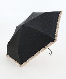 Afternoon Tea(アフタヌーンティー)の遮光ドットフリル晴雨兼用折りたたみ傘 日傘(折りたたみ傘)