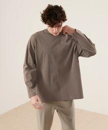 シルケットライク天竺 ワイドスリーブ L/S カットソー EMMA CLOTHES 2021SPRINGアッシュブラウン