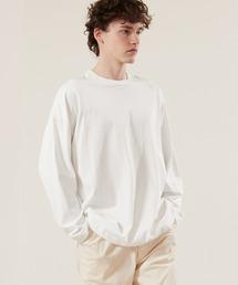 シルケットライク天竺 ワイドスリーブ L/S カットソー EMMA CLOTHES 2021SPRINGホワイト
