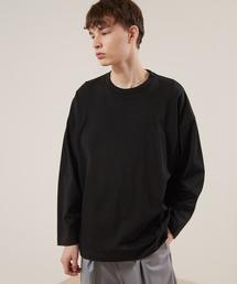シルケットライク天竺 ワイドスリーブ L/S カットソー EMMA CLOTHES 2021SPRINGブラック