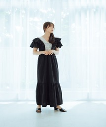 frill lace one-pieceブラック
