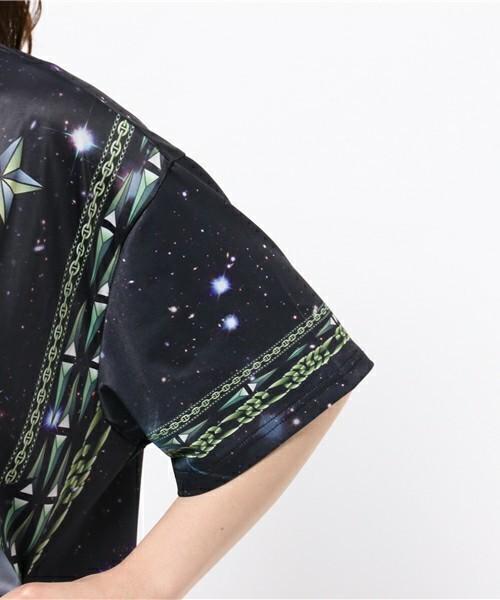 総柄グラフィック ビッグシルエットカットソー ビッグシルエットドロップショルダーTシャツ