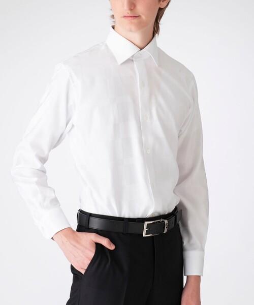 BLACK LABEL CRESTBRIDGE(ブラックレーベル?クレストブリッジ)の「シャドークレストブリッジチェックセミワイドカラーシャツ(シャツ/ブラウス)」 ホワイト