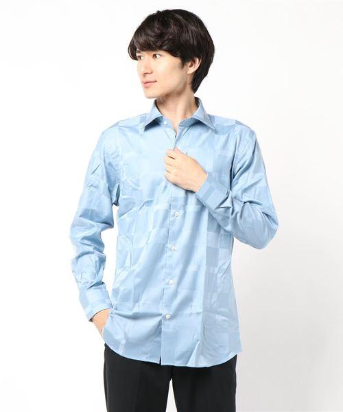 BLACK LABEL CRESTBRIDGE(ブラックレーベル?クレストブリッジ)の「シャドークレストブリッジチェックセミワイドカラーシャツ(シャツ/ブラウス)」 ブルー