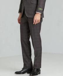 [レダ] REDA グレンチェック スリム ノープリーツ スラックス スーツパンツ