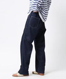【GRANDMA MAMA DAUGHTER/グランマ ママ ドーター】# DENIM SIDE ZIP PANTS サイドジップデニム GP007OWネイビー