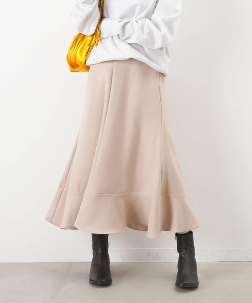 LUCA/LADY LUCK LUCA(ルカ/レディラックルカ)の「LC/LLL カルゼフレア切替スカート(スカート)」|ベージュ