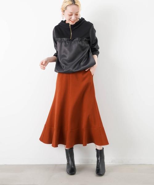 LUCA/LADY LUCK LUCA(ルカ/レディラックルカ)の「LC/LLL カルゼフレア切替スカート(スカート)」|ブラウン