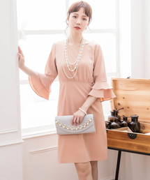 DRESS STAR(ドレス スター)の入学式にも使えるラッフル袖シンプルパーティードレス(ドレス)