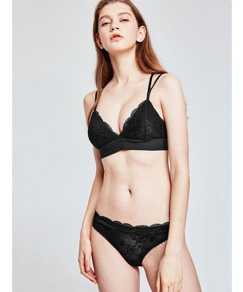 fran de lingerie(フランデランジェリー)の「【MISS CURIOSITY】Isabel イザベル ブラレットセット S-XLサイズ <Type-A>(ブラ&ショーツ)」|ブラック