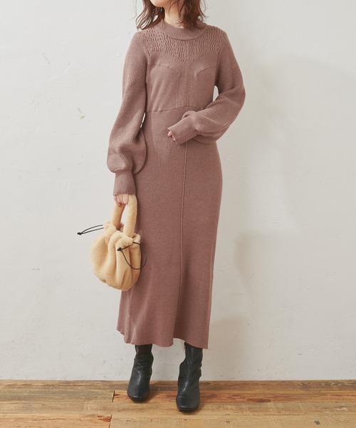 natural couture(ナチュラルクチュール)の「【WEB限定】いろいろ編み地重ね着風ニットワンピース(ワンピース)」 モカ
