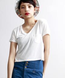 WEGO(ウィゴー)のWEGO/リネンモダールVネックショートTシャツ(Tシャツ/カットソー)
