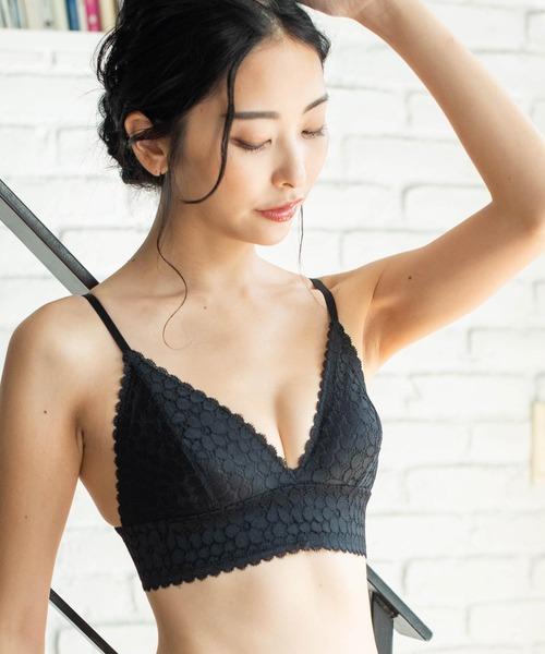 fran de lingerie(フランデランジェリー)の「【MISS CURIOSITY】Sylvia シルビア ブラレットセット S-XLサイズ <Type-B>(ブラ&ショーツ)」 ブラック