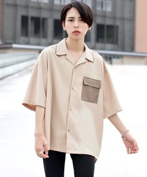 ファッションインフルエンサー ろむし × BASQUE magenta 切り替え オープンカラーシャツ 半袖ホワイト