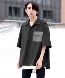 ファッションインフルエンサー ろむし × BASQUE magenta 切り替え オープンカラーシャツ 半袖ダークグレー