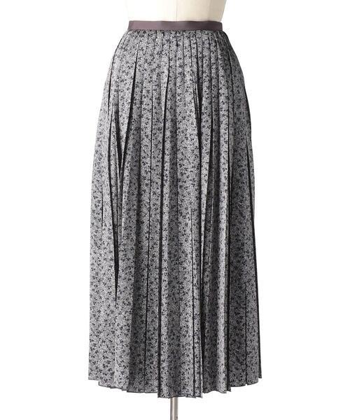 Drawer シルクサテンプリントプリーツスカート